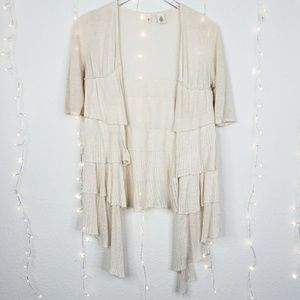 Anthropologie MOTH Falling Tiered Ruffle Cardigan